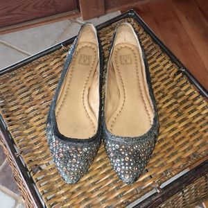 Frye Genuine Leather Regina Studded Ballet Flats